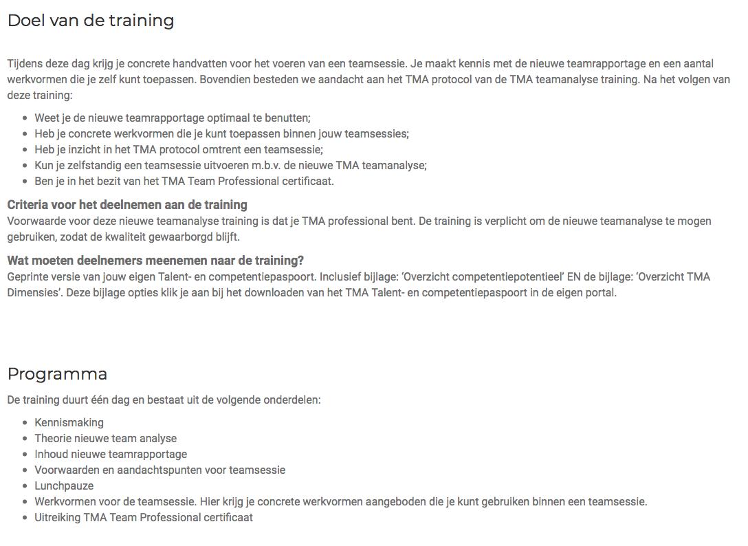 Details TMA teamanalysetraining bij BCoach